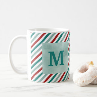 Christmas Greetings Green Monogram Holiday Mug