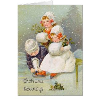 Christmas Greetings Ice Skating Kids Card