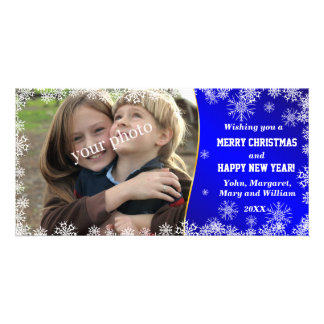 Christmas greetings on Ice-blue background Photo Card