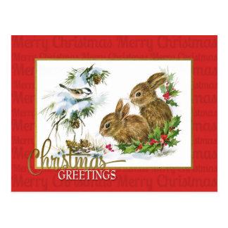 Christmas Greetings Rabbits Vintage Reproduction Postcard