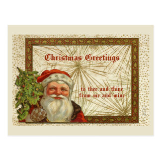Christmas Greetings Santa Claus Holding Tree Postcard