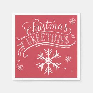 Christmas Greetings Snowflake Holiday Disposable Napkins
