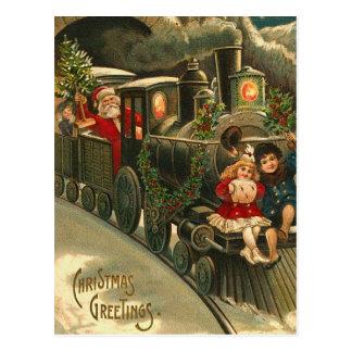 Christmas Greetings Train Vintage Postcard