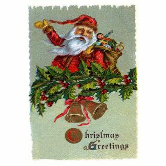 Christmas Greetings-Vintage Santa Claus Photo Sculpture Magnet