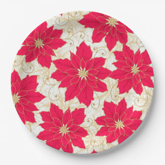 Christmas Greetings, with Gold, Red Poinsettias Paper Plate