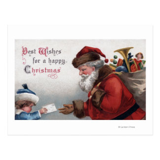 Christmas GreetingSanta Getting Letter Postcard