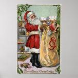 Christmas GreetingSanta with Large Sack Print