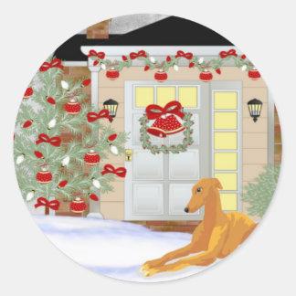 Christmas Greyhound Classic Round Sticker