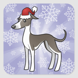 Christmas Greyhound / Whippet / Italian Greyhound Square Sticker