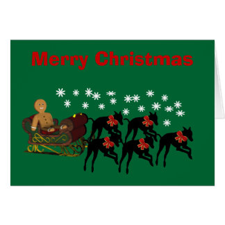 Christmas Greyhounds Pulling Sleigh Holiday Card