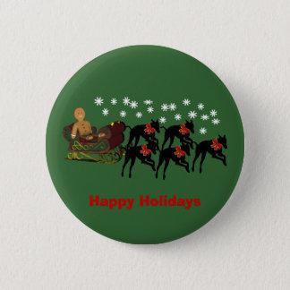 Christmas Greyhounds Sleigh Holiday Button Pin