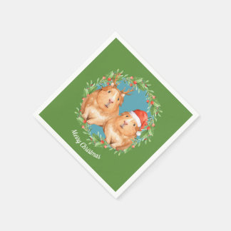 Christmas Guinea Pig Couple Wreath Personalized Paper Napkin