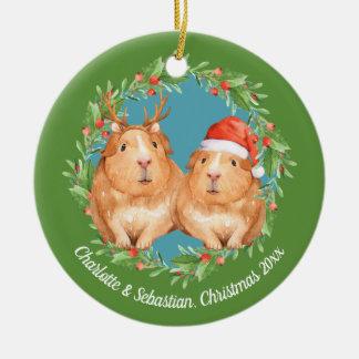 Christmas Guinea Pigs Santa and Reindeer Wreath Ceramic Ornament