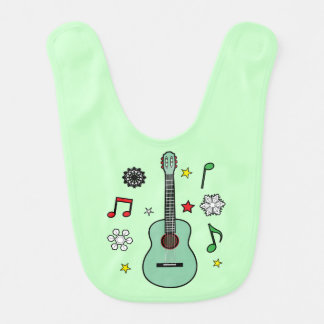 Christmas Guitar with Notes, Snowflakes and Stars Bib