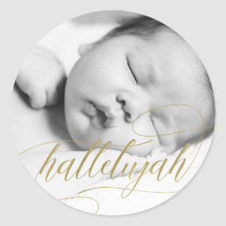 Christmas Hallelujah | Faux Gold with Photo Classic Round Sticker
