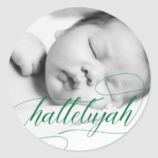 Christmas Hallelujah | Holiday Green with Photo Classic Round Sticker