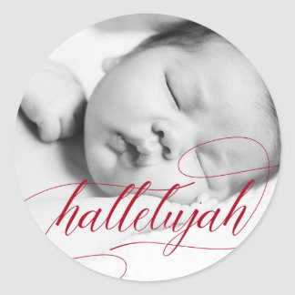 Christmas Hallelujah | Holiday Red with Photo Classic Round Sticker