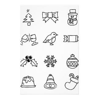 Christmas Hand Drawn Icon Set Customized Stationery