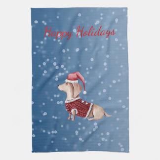 Christmas Hand Towel Dachshund Kitchen Towel