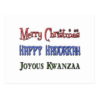 Christmas - Hanukkah - Kwanzaa Postcard