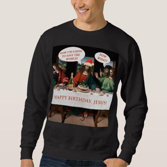 Christmas Happy Birthday Jesus Comics Style Funny Sweatshirt