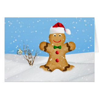 Christmas, Happy Gingerbread Man in Snow Card