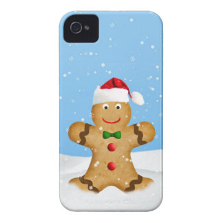Christmas, Happy Gingerbread Man in Snow iPhone 4 Case-Mate Case