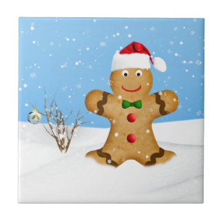 Christmas, Happy Gingerbread Man in Snow Tile
