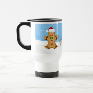 Christmas, Happy Gingerbread Man in Snow Travel Mug