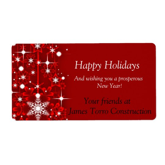 Christmas, Happy Holidays Wine Label