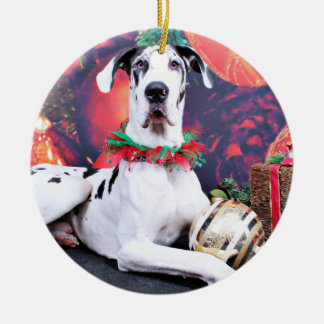 Christmas - Harlequin Great Dane - Baron Ceramic Ornament