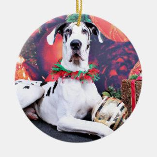 Christmas - Harlequin Great Dane - Baron Round Ceramic Ornament