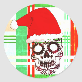 Christmas Hat Sugar Skull Stickers