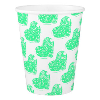 Christmas Heart Background Paper Cup