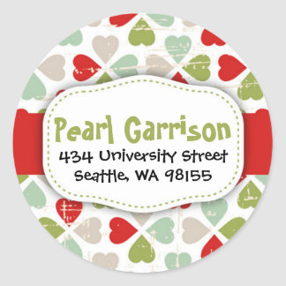 Christmas Heart Circle Return Address Label