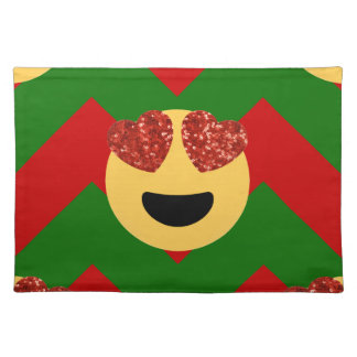 christmas heart eye emoji placemat