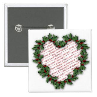 Christmas Heart Wreath Photo Frame Pinback Button