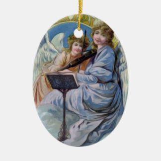 Christmas Heavenly Angels Playing Violin Ceramic Ornament