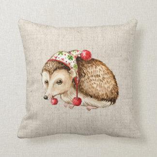 christmas hedgehog linen look pillow cushion