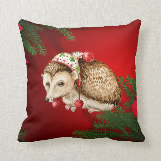 christmas hedgehog red silk look pillow cushion