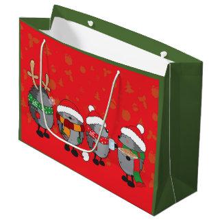 Christmas hedgehogs large gift bag