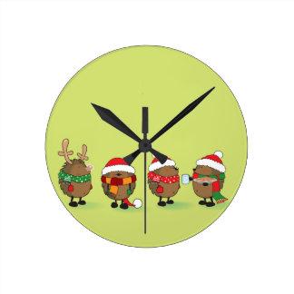 Christmas hedgehogs wallclock