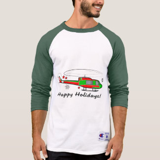 Christmas Helicopter in the Snow Happy Holidays T-Shirt