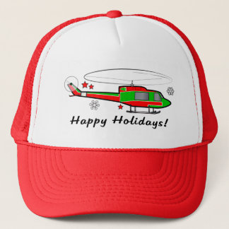 Christmas Helicopter in the Snow Trucker Hat