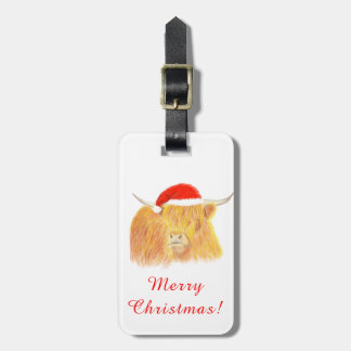 Christmas Highland Cow Luggage Label