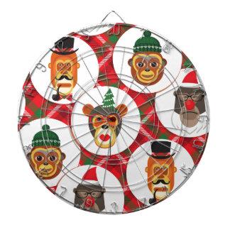 christmas hipster monkeys dartboard