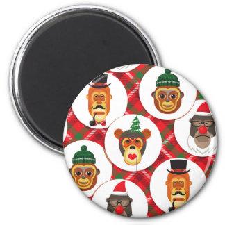 christmas hipster monkeys magnet