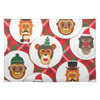 christmas hipster monkeys placemat