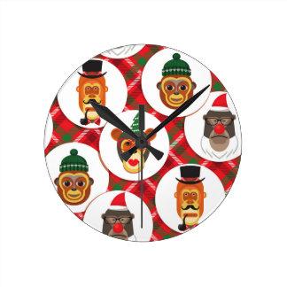 christmas hipster monkeys wall clock