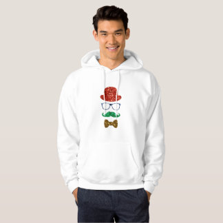 christmas hipster mustache mens hooded sweatshirt
